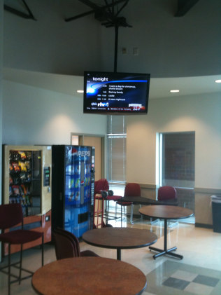 Ceiling Mount TV in College Breakroom